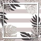 Silver tropical leaves with frame. Striped background