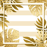 Golden tropical leaves with frame. Striped background