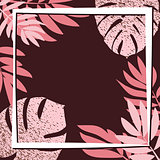 Pink tropical leaves on the dark background