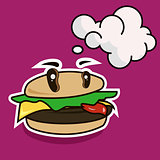 Funny cartoon cheese burger with speech bubble