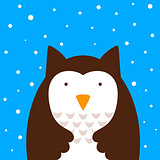 Cartoon owl, snow illustration.