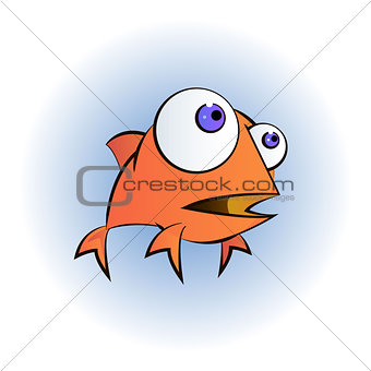 An illustration of a happy goldfish cartoon character waving