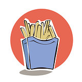 French fries in red paper box cartoon vector illustration