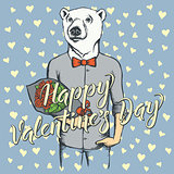 Vector bear with flowers celebrating Valentines Day