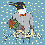 Vector penguin with flowers celebrating Valentines Day