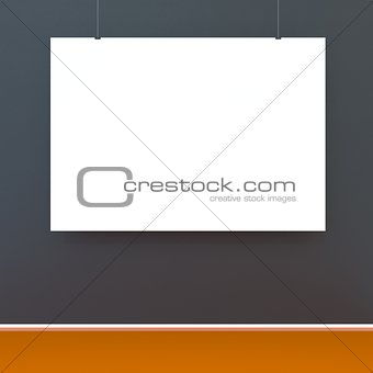 Mock up room, white poster on black wall 3D rendering