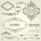 Vintage calligraphic frames with vignettes and ornamental divide