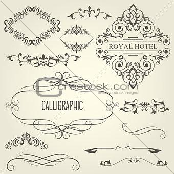 Vintage calligraphic frames with vignettes and ornamental divide