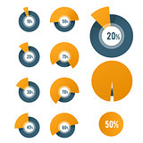 Pie chart template - circle diagram for business report or prese