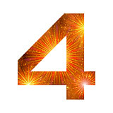 Number of orange firework, four
