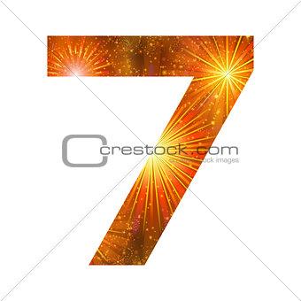 Number of orange firework, seven