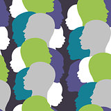 Seamless pattern with colorful family silhouette