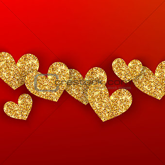 Realistic golden hearts on red background. Happy Valentines Day concept for greating card. Romantic Valentine gold hearts.