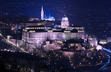 Night view of Buda castle in Budapest, Hungary