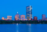 Boston skyline at dusk. Office buildings in Back Bay, USA