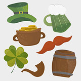 Set of St. Patricks Day icons. Isolated on white