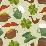 Saint Patricks day seamless background with clover and hat