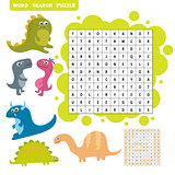 Logic game for learning English. Find dino words - Word search puzzle