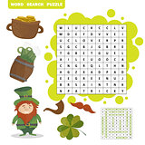 Patricks Day holiday themed word search puzzle - Answer included