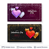 Glossy 3D hearts and greeting text.