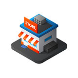 Flat isometric store logo, isolated vector icon