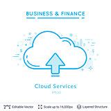 Cloud service symbol on white.