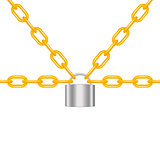 Orange chains locked by padlock in silver design