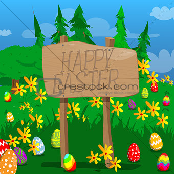 Happy Easter text on a wooden board.