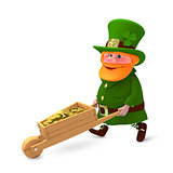3D Illustration of Saint Patrick with Clover and with Cart