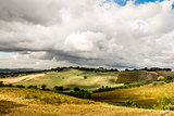Dry agriculture meadow in summertime with cloudy sky