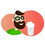 Man with beard in the form of hop vector illustration. Milk shake ads