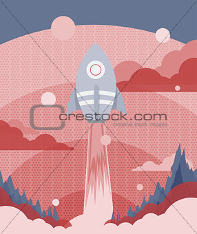 Poster design with a rocket flying to outer space