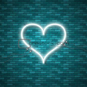 Bright heart. Retro blue neon heart sign