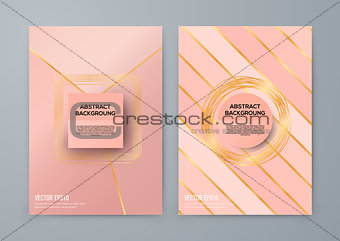 Brochure template with rose goldbackground