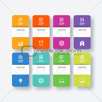 Business infographics template 8 steps with square