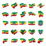 Ethiopia flag, vector illustration
