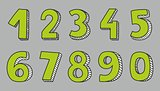 Hand drawn green vector numbers isolated on grey background