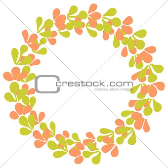 Green and pink laurel wreath vector frame isolated on white background