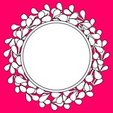 Black and white laurel wreath vector frame on pink background