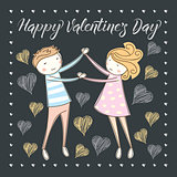 Vector couple celebrating Valentine Day