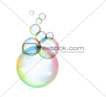 Rainbow soap bubble on a white background. Vector illustration