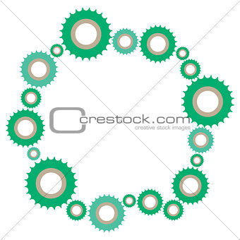 Complex mechanism of a large set of gears of different sizes.
