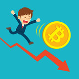Businessman running on graphs are sad at the bitcoin price drop.