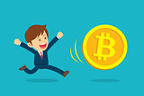 Businessman running are happy at the bitcoin prices up. Cryptocu