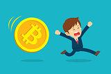Businessman running are sad at the bitcoin price drop. Cryptocur