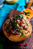 Stuffed pumpkin with couscous.selective focus