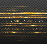 Abstract gold laser beams with shiny sparks isolated on transparent black background. Vector illustration