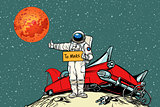 The road to Mars. car broke down in space, astronaut hitchhiker