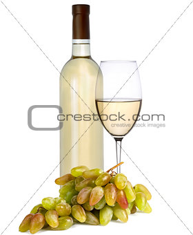 Bottle and a glass of white wine with grapes