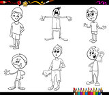 cartoon kids characters coloring book